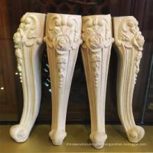Pattes de meubles de table en bois antiques sculptées