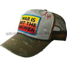Distress moliendo lavado Patch bordado ocio sombrero de camionero (TMT1967)