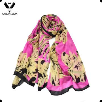 Alta moda feminina não MOQ varejo folha impressão tecido de seda cachecol
