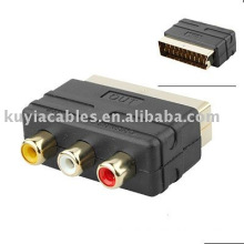 Scart to RCA Cable Adaptor RGB Scart Male to 3 RCA Female adapter tv cable dvd vcr input analog