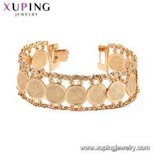 75193 Xuping nouvelle vente populaire large manchette d'or bracelet chaînes de mode bijoux sans nickel