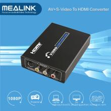 3RCA AV Cvbs Composite e S-Video para Conversor HDMI Upscaler