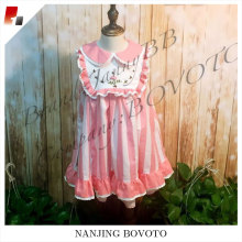 pink stripe balloon embroidery toddler dress