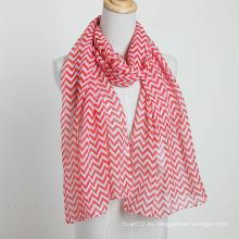 Bufanda de moda con el patrón de las ondas Damas Mujeres Bufanda Rojo Color Polyester Voile Chales