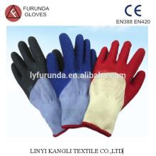 Luvas de polycotton revestidas com latex 1/2 palma, acabamento rugas, 10 gauge 5 threads