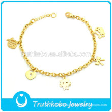Cute Gold Custom Charm Bracelet for Young Girls