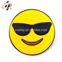 Custom round gold metal enamel emoji lapel pins with butterfly pin