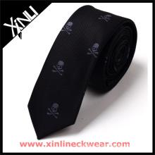 Weiß und Grau Schädel Plain Black Tie