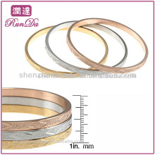 New Product For 2013 Tri-color Stainless Steel Designed Bangle Set Gold Jewelry