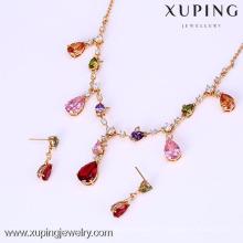 61637- collier de boucle d'oreille de Xuping a placé des bijoux de luxe de luxe avec l'or 18K plaqué