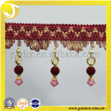 acrylic wholesale red beads tassel fringe curtain beads trimming