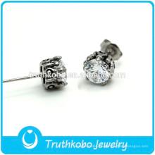 TKB-E0084 Juego de joyas de flor de loto Pendientes de botón de bola de acero inoxidable para niños