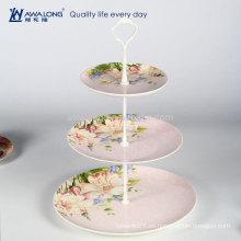 Western diseño diario utilizado rosa de tres capas de pastel de porcelana de pie, placa de cerámica fina torta de frutas