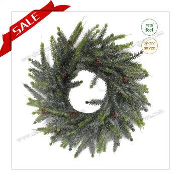 Vente en gros de couronnes artificielles noires de Noël blanc avec prix de promotion H30-H48cm
