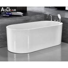 Aokeliya 2021 modern 170cm acrylic white stand alone bathtub soaking freestanding bathtub with faucet for bathroom