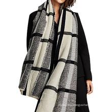 Fashion bold plaid grey black winter women acrylic knitted pashmina scarf 2017