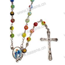 6mm gemischte Farbe Glasperlen Rosenkranz, religiöse Halskette mit Jungfrau Maria Herzstück und Kreuz