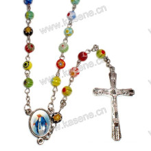 6mm Mixed Color Glass Beads Rosary, Religious Necklace with Virgin Mary Centerpiece and Cross