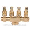 4 way manifold connector brass with shut-off valve