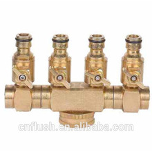 4 way manifold connector brass with shut-off valve