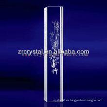 K9 3D Laser Grabado al agua fuerte de bambú con forma de pilar