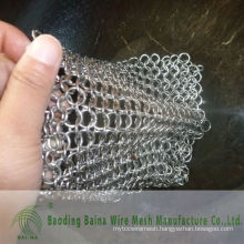2015 Alibaba china supply steel cast iron clean XL 8X6 inch stainless steel chainmail scrubber