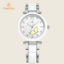 Art- und Weisefrauen Kristallrhinestone-keramische analoge Quarz-Armbanduhr 71091