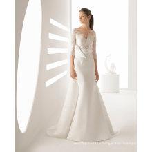 3/4 Sleeve Lace Satin Ballgown Prom Bridal Sheath Weding Dress (RS016)