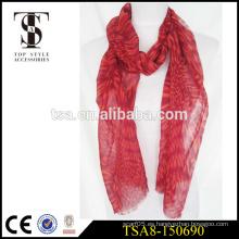 Rojo patrón abstracto pantalla impresa bufandas 100 poliéster impreso bufanda
