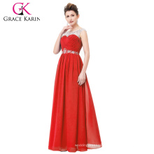 Grace Karin Fashionable Backless Red Long Chiffon Evening Prom Party Dress CL6115-1#
