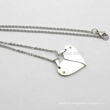 Hot Sale Silver Metal Broken Heart Chain Necklace