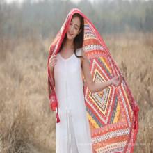 Wholesal Strand Urlaub Boho ethnischen Stil Schal Polyester Schal