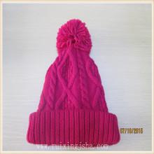 Pom Pom mão Womens Crochet de malha padrão de chapéus de inverno
