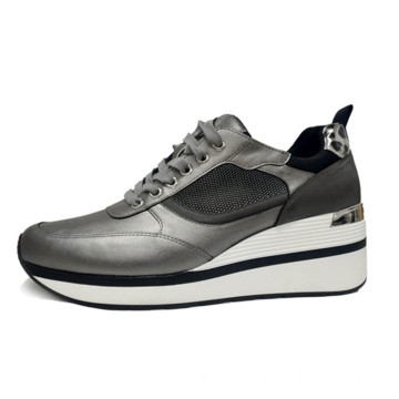 Women's Leather Mesh Sports erhöht Casual Sneakers