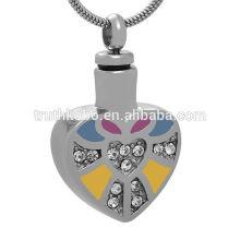 Souvenir de cendres de bijoux de coeur d'acier inoxydable 316L bleu / jaune / Colorfu avec le pendant en cristal