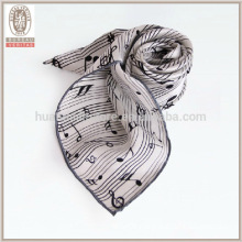 Musical notation neck scarf 100% silk fashionable lady scarf