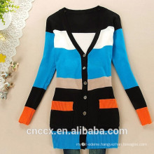 15STC6706 bamboo color block cardigan
