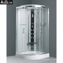 Aokeliya Integral Shower Cubicle with Black Glass Panel and Seat