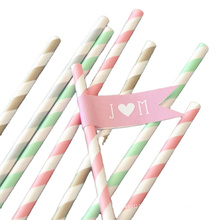 Hot sale Gold Funny paper straws striped arty paper straws with high quality