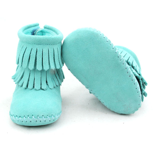 Hot Selling Colorful Handmade Genuine Leather Baby Fringe Boots