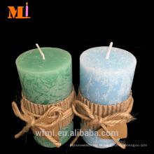 Fournisseur expérimenté Usage à la maison Lumière Vanille Bleu Saveur Assorties Tailles PAYS STYLE Pilier Bougies Cheap Bulk