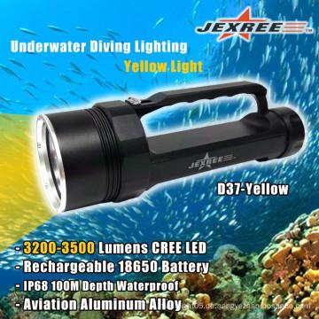 Tauchen Leistungsstarke Unterwasserfischerei Gelbe Taschenlampe