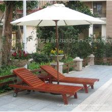 Outdoor Patio Wooden Sunlounger with Coffee Table Garden Umbrella for Hotel Pool Beach Deck