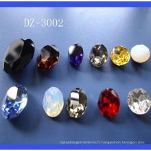 Pierres de verre pour bijoux, pierre de cristal pour la décoration du vêtement