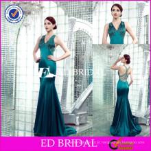 JC24 Atacado Cap Sleeve V Neckline Beaded bainha Emerald Green Evening Dress
