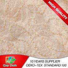 100% Polyester Mesh Stickerei mit Perlen und Chiffon Gürtel für Kleidungsstücke, Dekoration, Hochzeit