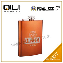 8oz stainless steel color gold painted classic hip flask for ladies