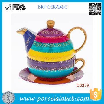 Hand Painted Strips Ceramic Set Tea Pot Cup and Saucer