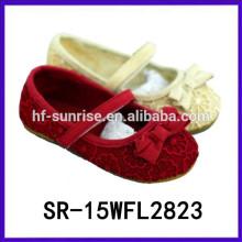 2015 zapatos de bebé formales de los zapatos de las muchachas encantadoras del bownot de las muchachas con estilo de las muchachas