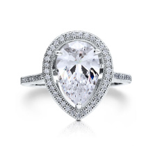 Sterling Silver 925 Pear Shape Micro Pave Halo Ring